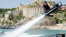 A surfboard attached to a firehose is a... hoverboard?