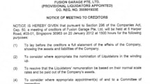 Fusion Garage sinks into liquidation, owes creditors some $40 million