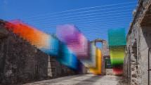 A real-life 8-bit installation pixelates a Greek ruin