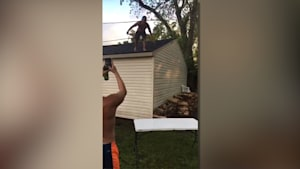 WWE Style Roof Jump Gone Wrong