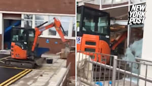 Digger Plows Straight Through Hotel Lobby