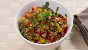 Summer kickoff: sundried tomato and lentil salad