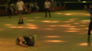 In-line roller skater accidentally throws partner