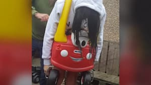 Woman got stuck in a children's toy car and had to be cut out