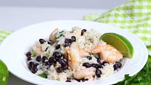 This cilantro lime black bean shrimp and rice dish is easy to make and packed with flavor