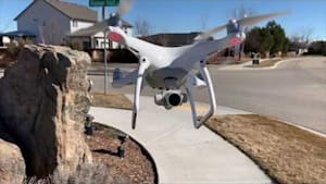 Drone crashes into street sign and breaks