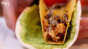 Baked double decker tacos with guacamole