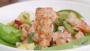 Grilled shrimp with pineapple-melon salsa