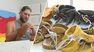 Homeless man makes beautiful shoes and backpacks
