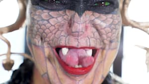 Meet the Dragon Lady, whose extreme body modifications are turning her into a reptile.