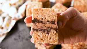 Cookie dough stuffed rice krispie treats