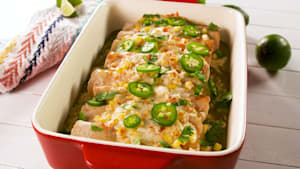 Street corn enchiladas are LOADED with cheese