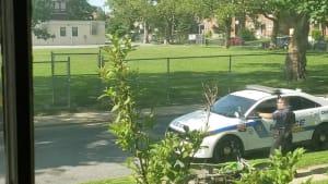 Guy on motorcycle wheelies into police car