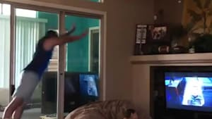 Dude jumps onto beanbag, sends sister flying into the air