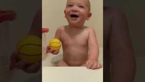 Baby laughs at dad's fake sneezing