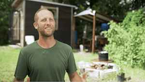 This extreme minimalist lives in a 100 square foot house, drinks rain water and grows 100% of the food he eats.