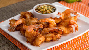 Coconut lime fried shrimp with mango salsa