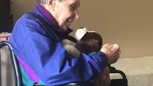 Dad with Dementia loves toy gifted to him by child