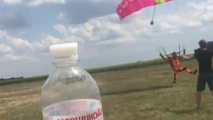 Skydiver tackles friend attempting viral challenge
