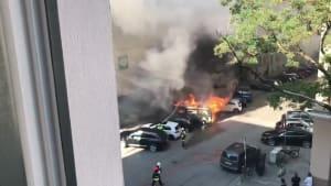 VW-Bus brennt lichterloh mitten in Münchner Stadtteil Schwabing
