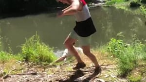 Rope swing snaps, guy falls into the water