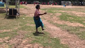 Sweet grandma gets carried away at football match