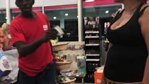 Woman tries to pay with a toy credit card