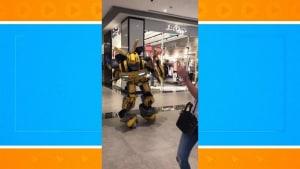 Transformer falls apart after losing his balance