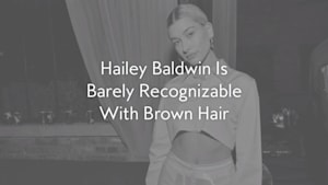 Hailey Baldwin debuts new brown hair do