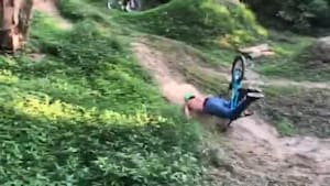 Biker crashes in the woods