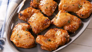 Boneless chicken thighs with honey mustard glaze