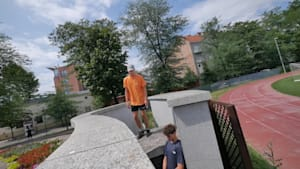 Guy fails at trying Parkour trick