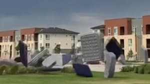Strong winds send 150 mattresses flying