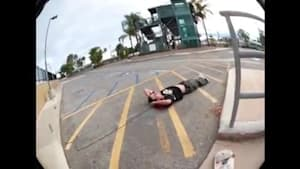 Guy tries skateboarding trick and falls backwards