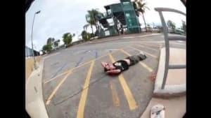 Guy tries skateboarding trick and falls backwards