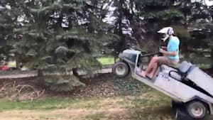Golf cart stunt fail