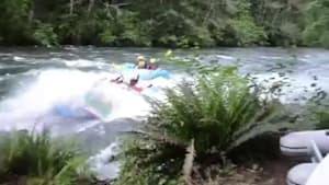 Raft flips people into river after after collison