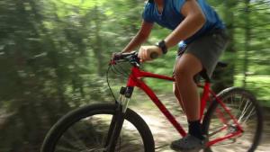 Biker misses landing and crashes on bike
