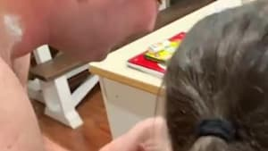 Toddler cries seeing dad's face without a beard