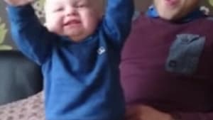 Baby's priceless reaction to sports chant