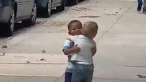 Adorable toddler BFFs hug it out in viral video