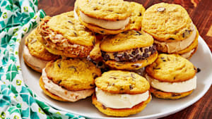 Pumpkin chocolate chip ice cream sandwiches