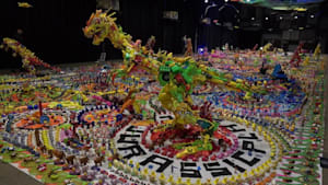 Artist makes huge exhibition out of plastic toys