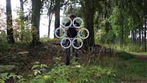 Man's invention combines juggling and a hula hoop