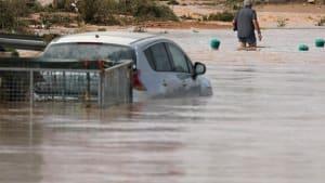 Teile Spaniens unter Wasser