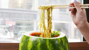 This watermelon bowl is stuffed with noodles