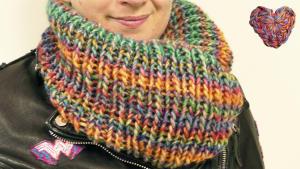Loop Schal Stricken | Super einfacher Schal in Runden Rippenmuster Stricken | Bunter Herbst Schal