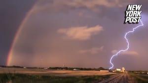 Rainbow and lightning caught on camera