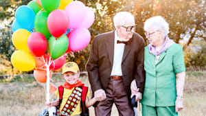 5-year-old poses in cute 'Up' themed photoshoot
