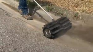 Powerful rotating paddle makes yard work easier
